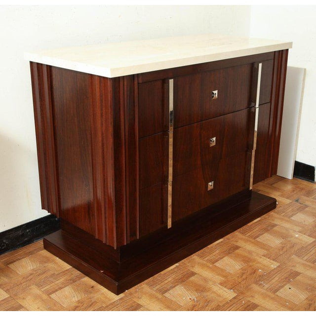 Art Deco Art Deco Rosewood Commode With Three Drawers and Travertine Top, France, 1940s For Sale - Image 3 of 8