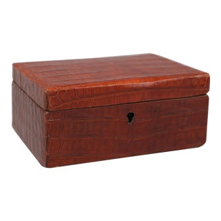 Antique English Crocodile Skin Jewelry Box For Sale