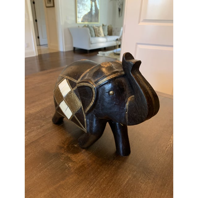 Black Carved Wood & Brass Elephant Figurine For Sale - Image 8 of 11