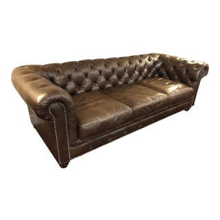 Chesterfield Style Brown Leather Sofa For Sale