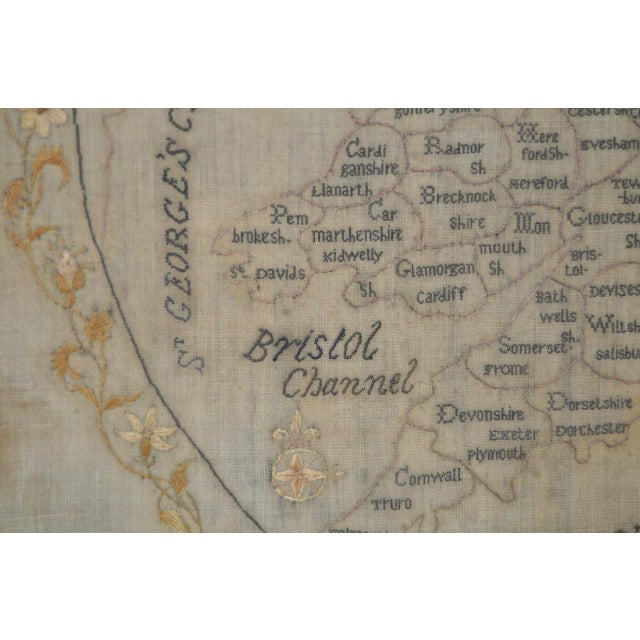 Silk Early 19th Century Map of England and Wales Sampler For Sale - Image 7 of 10