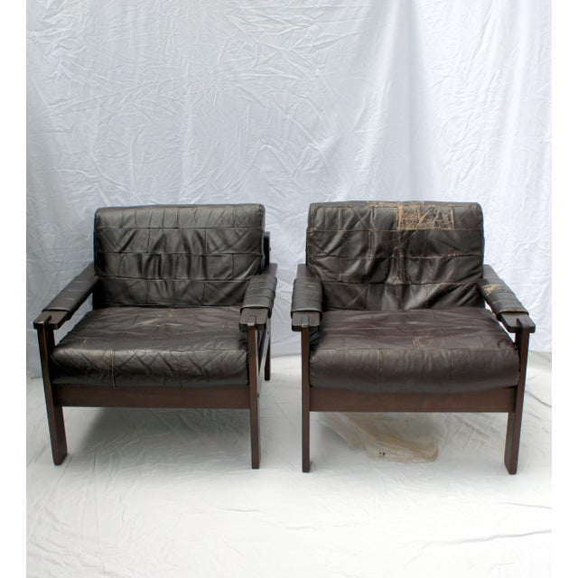Rare Moveis Corazza set of two patchwork leather and Jatoba wood (Brazilian cherry) armchairs / club chairs / lounge...