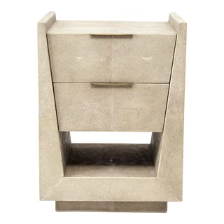 Lola Bedside Table in Cream Shagreen and Bronze-Patina Brass by R&y Augousti For Sale