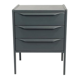 Midnight Gray Teak Three Drawer Bedside Table
