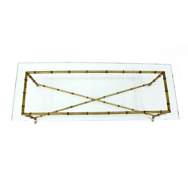 X Base Rectangular Mid Century Modern Gilt Faux Bamboo Glass Top Coffee Table For Sale - Image 4 of 9