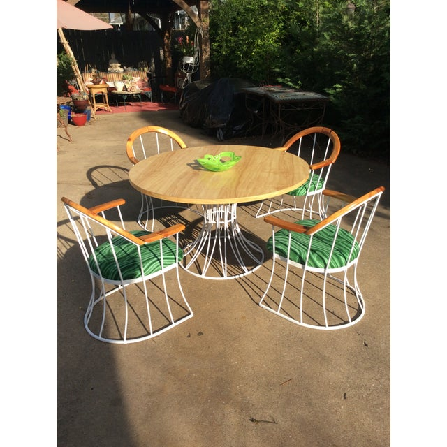 A completely restored Mid-Century Platner style table and chair set. This set was sandblasted to remove all loose paint...