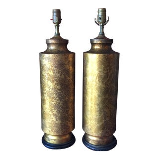 Mid-Century Gold Splattered Metal Wooden Lamps - A Pair For Sale