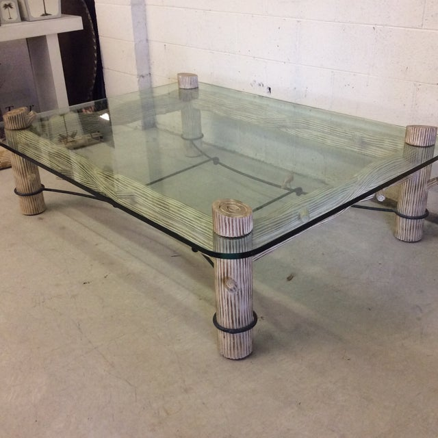 Contemporary Faux Bois Iron & Glass Coffee Table For Sale - Image 3 of 6