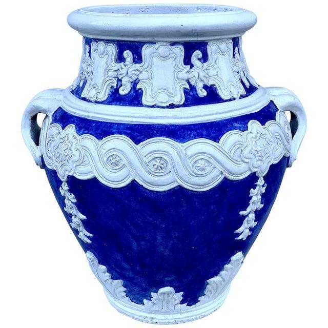 Italian Blue and White Della Robbia Style Jardiniere, Provenance, Celine Dion For Sale - Image 11 of 11