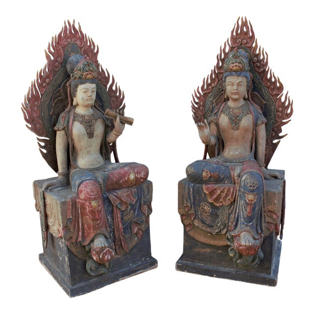 Mid 20th Century Chinese Quan-Yin Sitting Mandorla Statues - a Pair For Sale
