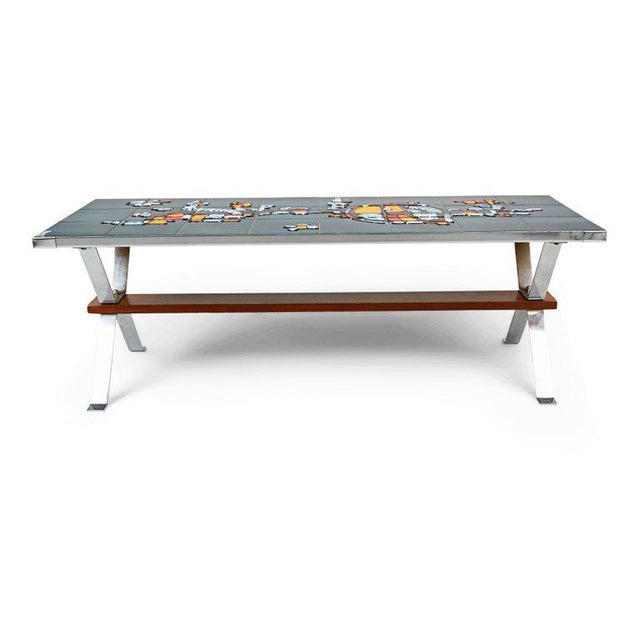 Abstract Italian Chrome and Ceramic Tile Top Coffee Table, Signed, Circa 1960 For Sale - Image 3 of 6