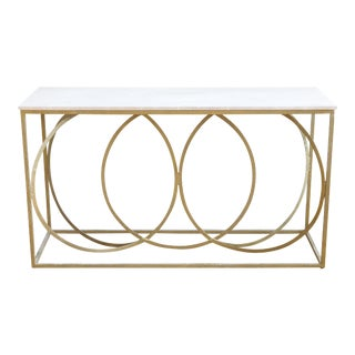 Modern Geometric Gold Iron White Marble Console Table