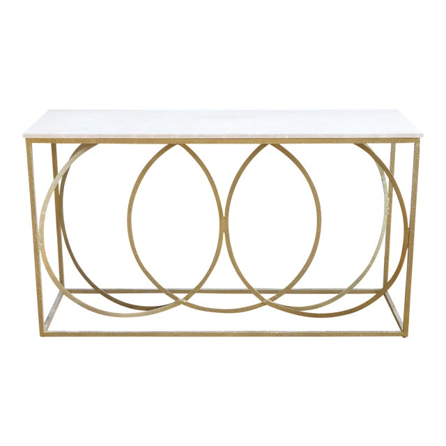 Modern Geometric Gold Iron White Marble Console Table For Sale