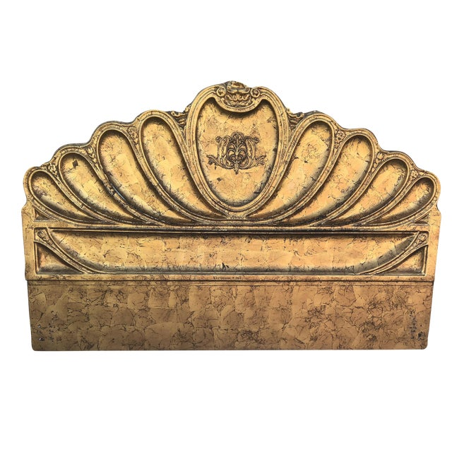 1960s Hollywood Regency Custom Furniture Builders Gold Leaf Gilt Headboard For Sale