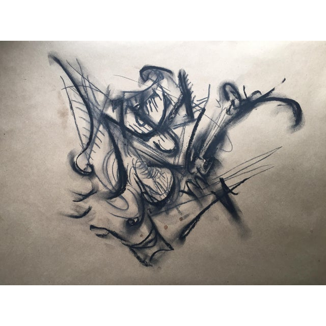 Abstract Original Abstract Charcoal Drawing by Erik Sulander 16 X 16 on Paper Unframed For Sale - Image 3 of 3