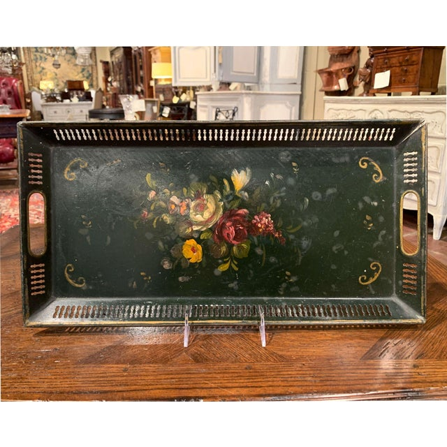 19th Century French Hand Painted Rectangular Gallery Tole Tray For Sale - Image 9 of 9
