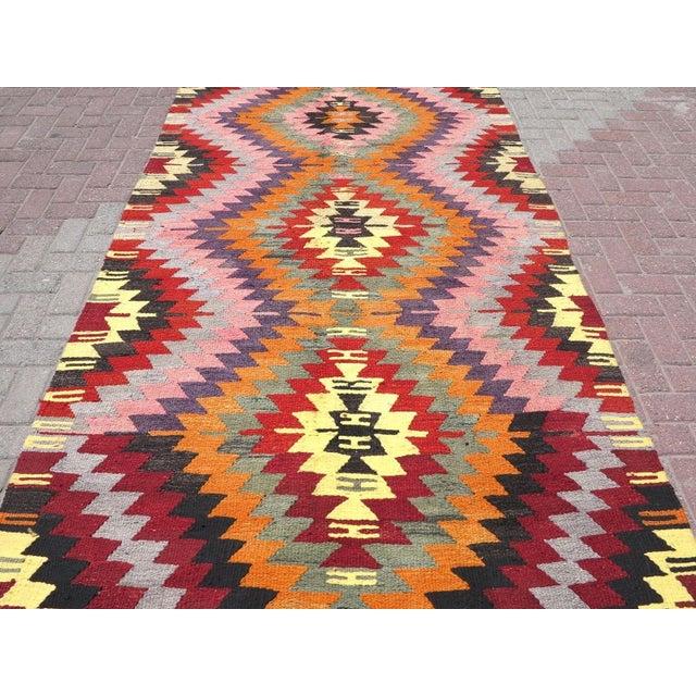 Boho Chic Vintage Turkish Kilim Rug For Sale - Image 3 of 8
