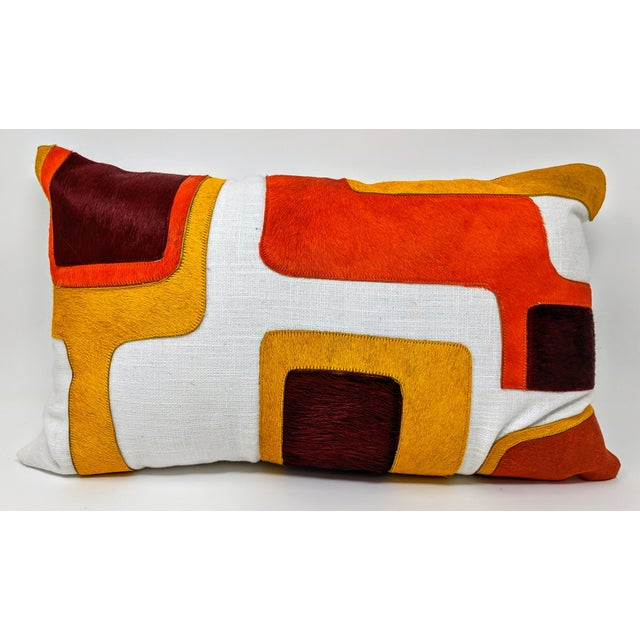 White Linen and Cowhide Rectangular Pillow For Sale - Image 8 of 8