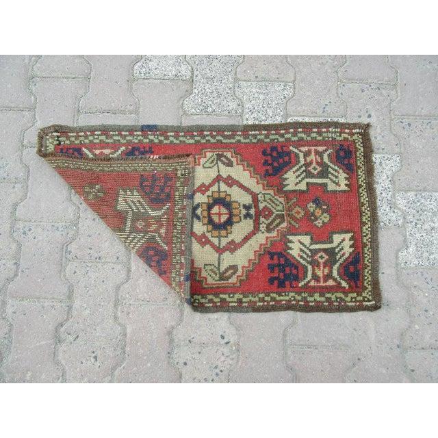 Turkish 1960s Turkish Decorative Mini Rug For Sale - Image 3 of 4