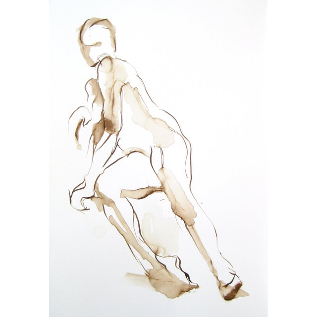 """This original walnut ink drawing on watercolor paper, """"Seated Figure"""" by Michelle Arnold Paine, is of a seated female..."""
