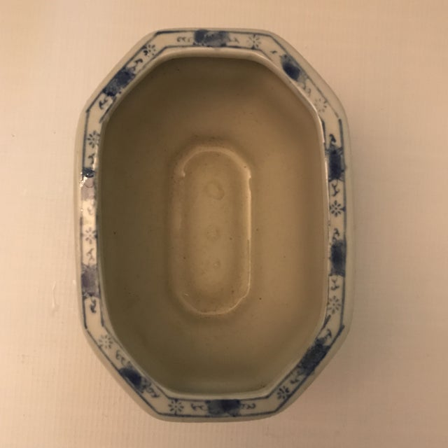 1990s Chinese Blue & White Oval Porcelain Planter For Sale - Image 5 of 12