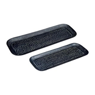 Handmade Embossed Trays With Aluminum Etched Pattern - a Pair For Sale
