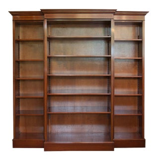 English Satinwood Inlaid Mahogany Triple Bookcase For Sale