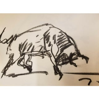 Jose Trujillo Original Charcoal Paper Sketch Drawing Modernist Bull Decor For Sale