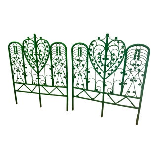 Vintage Boho Chic Wicker Emerald Green Twin Headboards - a Pair For Sale