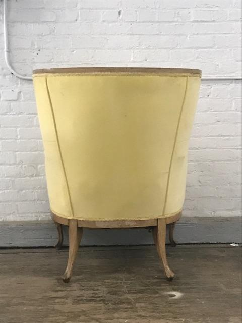 Superbe Antique Canary Yellow Velvet Wingback Chair   Image 4 Of 5