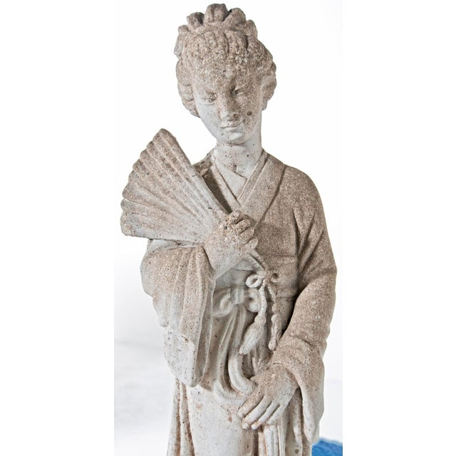 Gray Mid Century Vintage Cast Stone Figure of a Goddess For Sale - Image 8 of 8