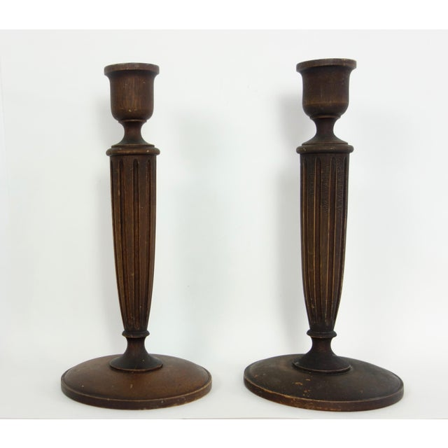 1900 - 1909 Hand Turned American Walnut Candlesticks - a Pair For Sale - Image 5 of 5