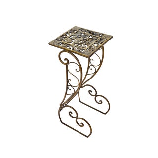 Vintage Ornate Heavy Brass/Bronze Metal Plant Stand | Pedestal Table For Sale