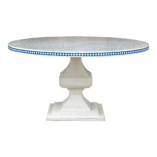 Najima Bone Inlay Pedestal Round Table For Sale