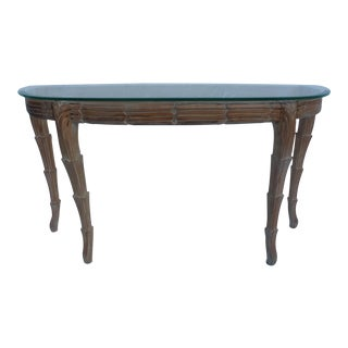 Hollywood Regency Hand Carved Wood Demilune Console