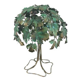 Italian Tree-Shaped Tole Table Lamp For Sale