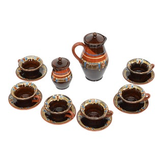 1970s Stoneware Coffee Service, Bulgaria - Set of 14 For Sale