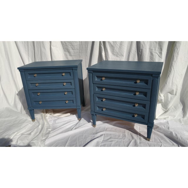 Mid-Century Blue Nightstands - A Pair - Image 3 of 10