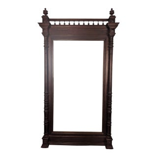 Antique French Henri II Oak Standing Mirror For Sale
