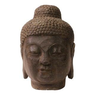 Chinese Oriental Black Gray Stone Carved Buddha Head Figure