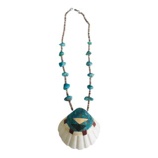 Vintage Native American-Santo Domingo Shell Necklace, Turquoise For Sale