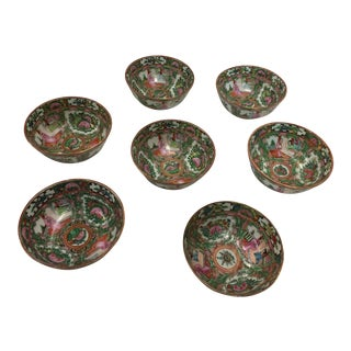 7 Rose Medallion Chinese Rice Bowls Hand Painted For Sale