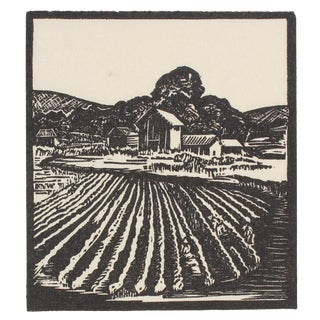 1940s Vintage Farm Linoleum Block Print by Mary Watterick Evans For Sale
