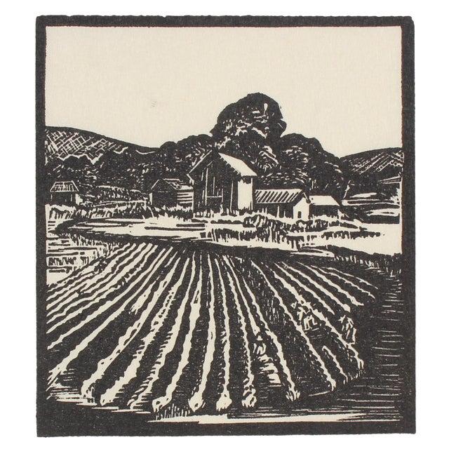 1940s Vintage Farm Linoleum Block Print by Mary Watterick Evans For Sale