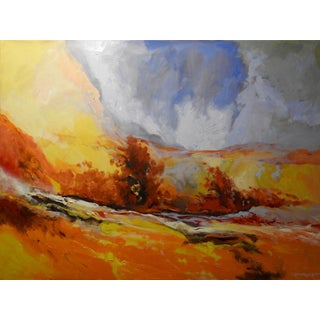 """Expressionist Oil Painting, """"Serene"""" Marigold Brush Field For Sale"""