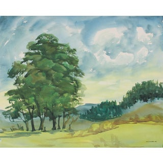 California Landscape With Trees, Mid 20th Century Watercolor Painting For Sale