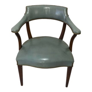 1950s Blue Leather Mahogany Hickory Library Chair For Sale