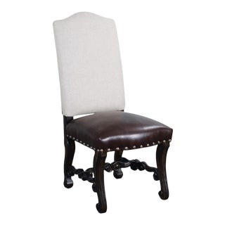 Tuscan Small Carved Aged Walnut Side Dining Chair For Sale