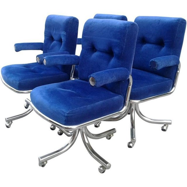 Vintage Hollywood Regency Chrome Swivel Arm Chairs - Set of 4 - Image 11 of 12