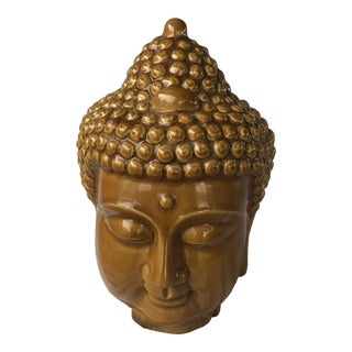 Mustard Yellow Ceramic Buddha Statue For Sale